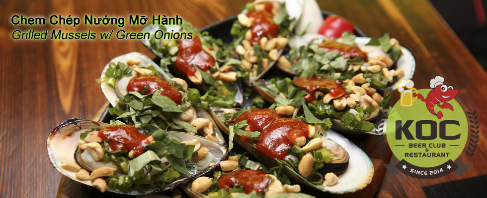 Chem Chép Nướng Mỡ Hành - Grilled Mussels w/ Green Onions